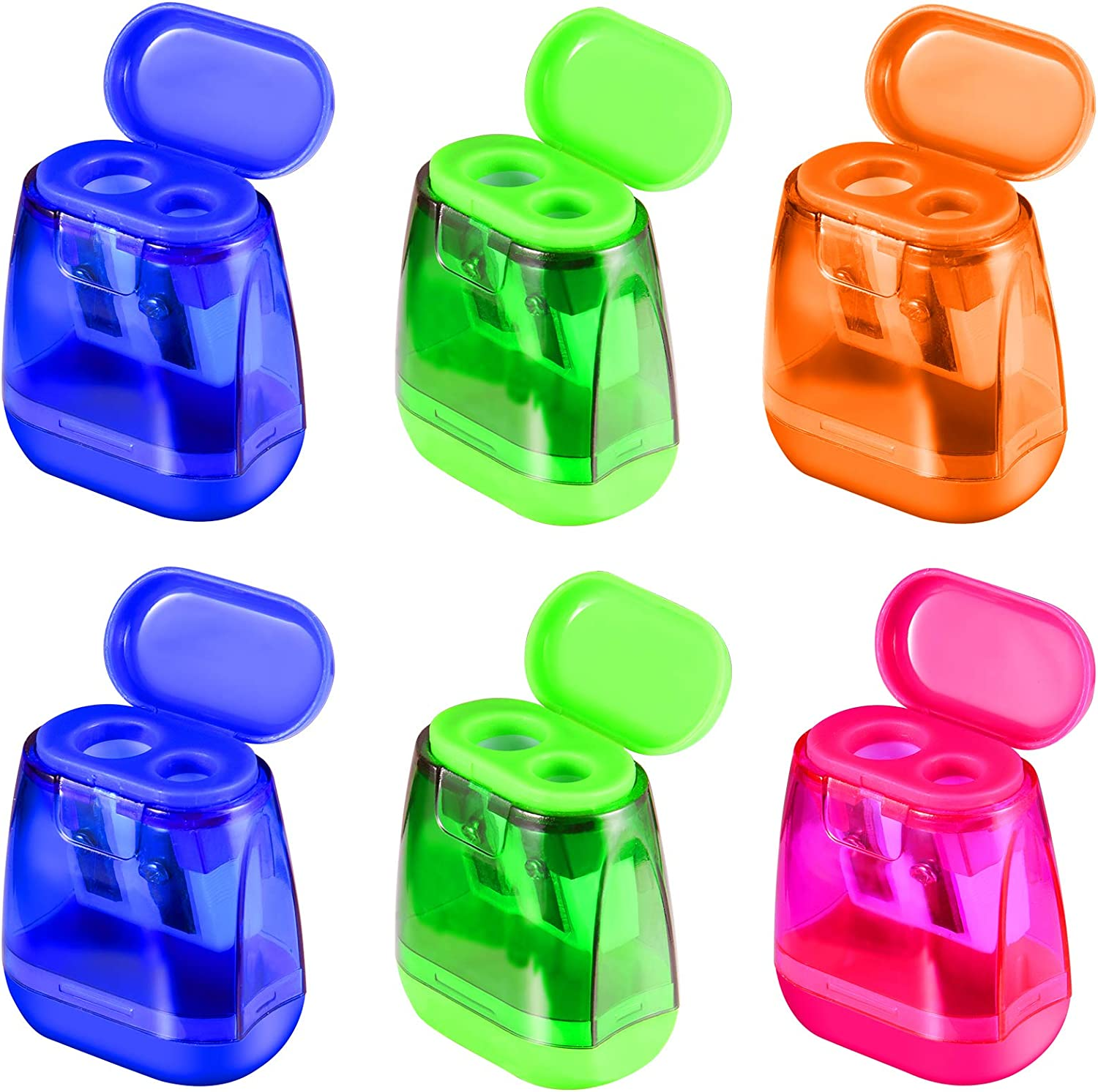Manual Pencil Sharpeners, 6PCS Dual Holes Sharpener with Lid for Kids, Handheld Pencil Sharpener for School Home Office Supply Colorful