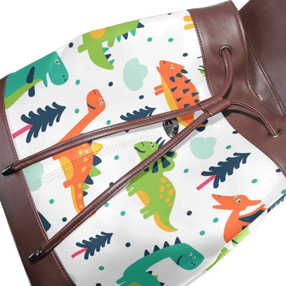 KUWT Cartoon Dinosaur PU Leather Backpack Photo Custom Shoulder Bag School College Book Bag Rucksack Casual Daypacks Diaper Bag for Women and Girl