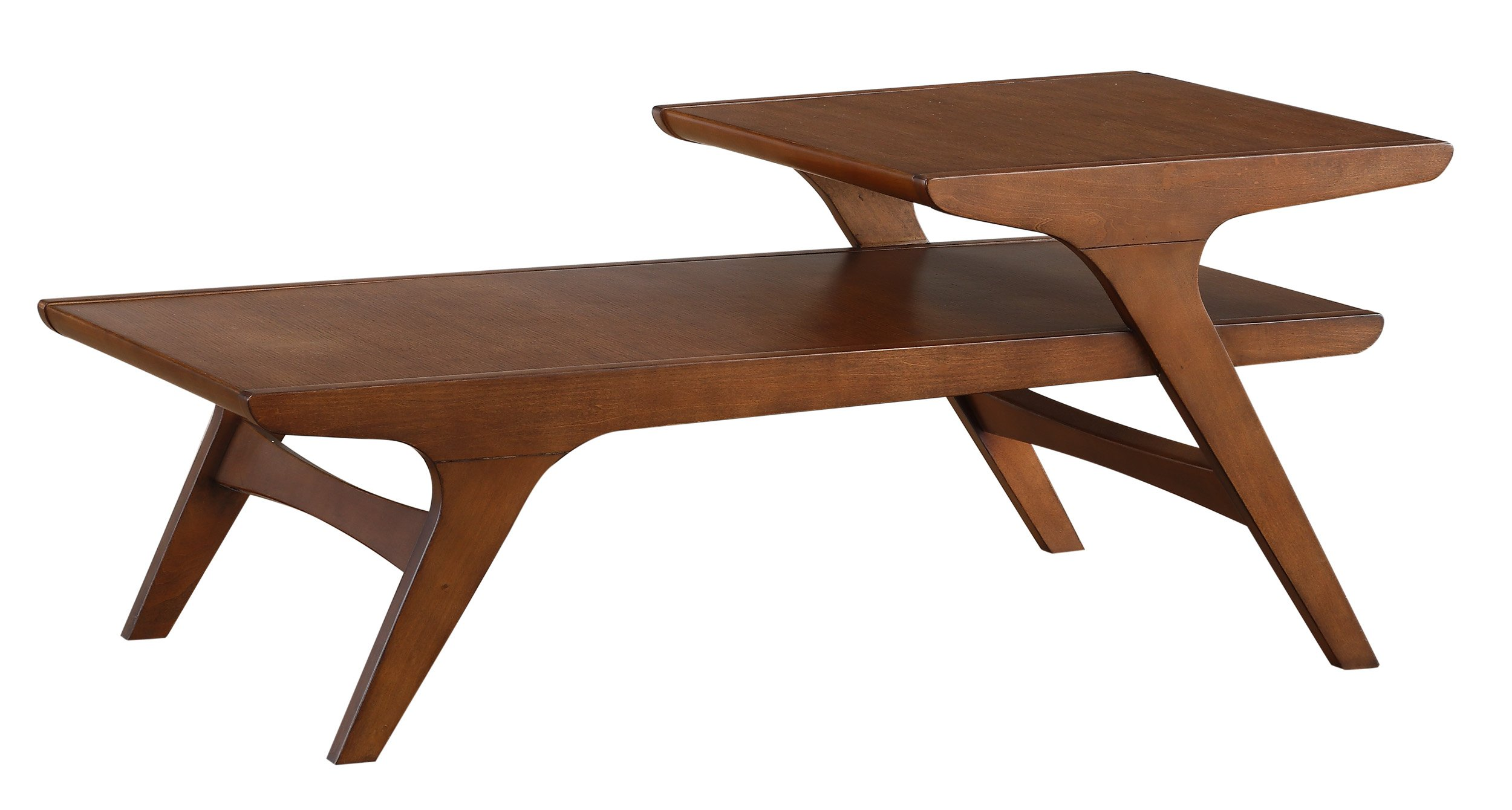 Homelegance Saluki Mid-Century Two-Tier Cocktail/Coffee Table, Cherry by Homelegance