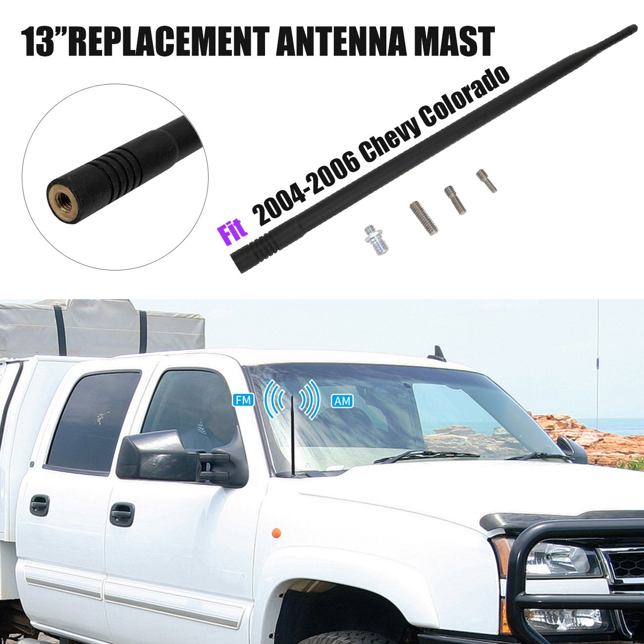 For Chevy Colorado 2004 2005 2006 13 Short Rubber Factory Audio Wiring Antenna Replacement Mast Cell Phones Accessories