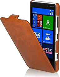 Esclusiva custodia UltraSlim Stilgut in vera pelle per Nokia Lumia 720 - cognac