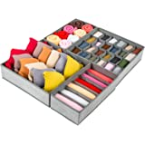 Criusia Drawer Organizer, 4 Set Foldable Underwear Drawer Organizer and Closet Dividers, Storage Box for Clothes, Socks…