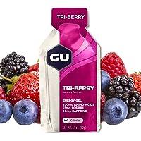 GU Energy Original Sports Nutrition Energy Gel, Tri-Berry, 8 Count Box