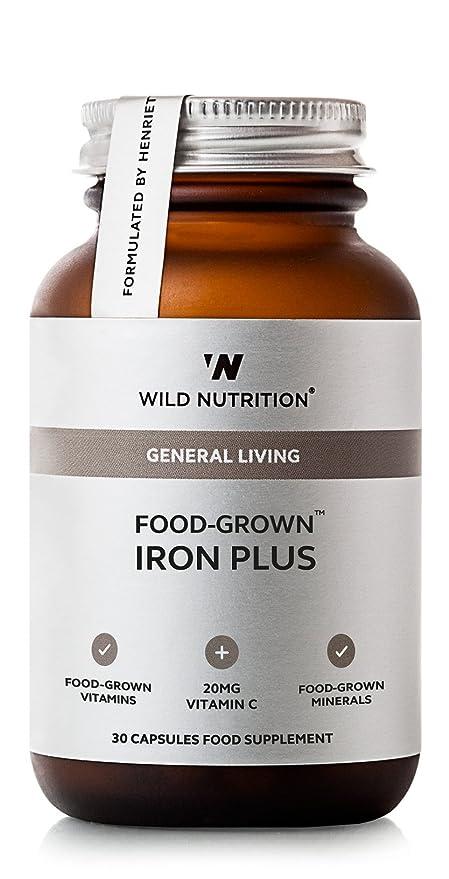 Wild Nutrition producción de alimentos Hierro Plus con Vitamina C, Molibdeno y vitamina B2.