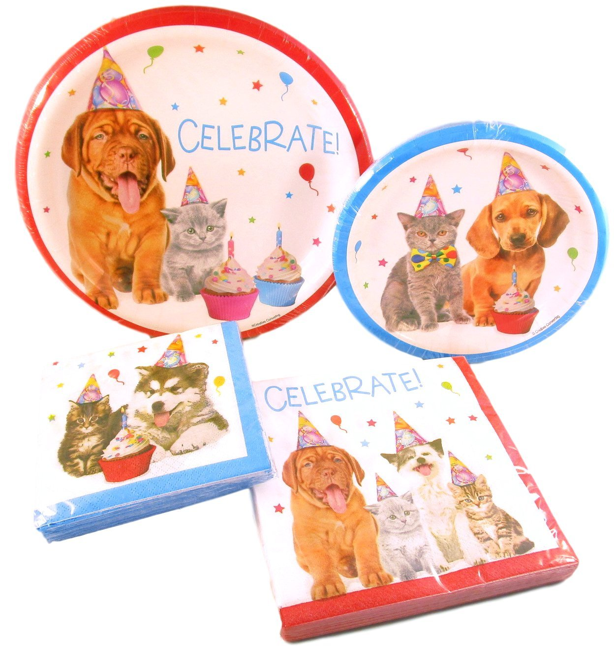 Dog and Cat Birthday Party Pack - 2 Packs Paper Plates and 2 Packs Napkins