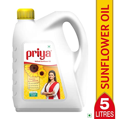 Priya Refined Sunflower Oil Jar, 5L