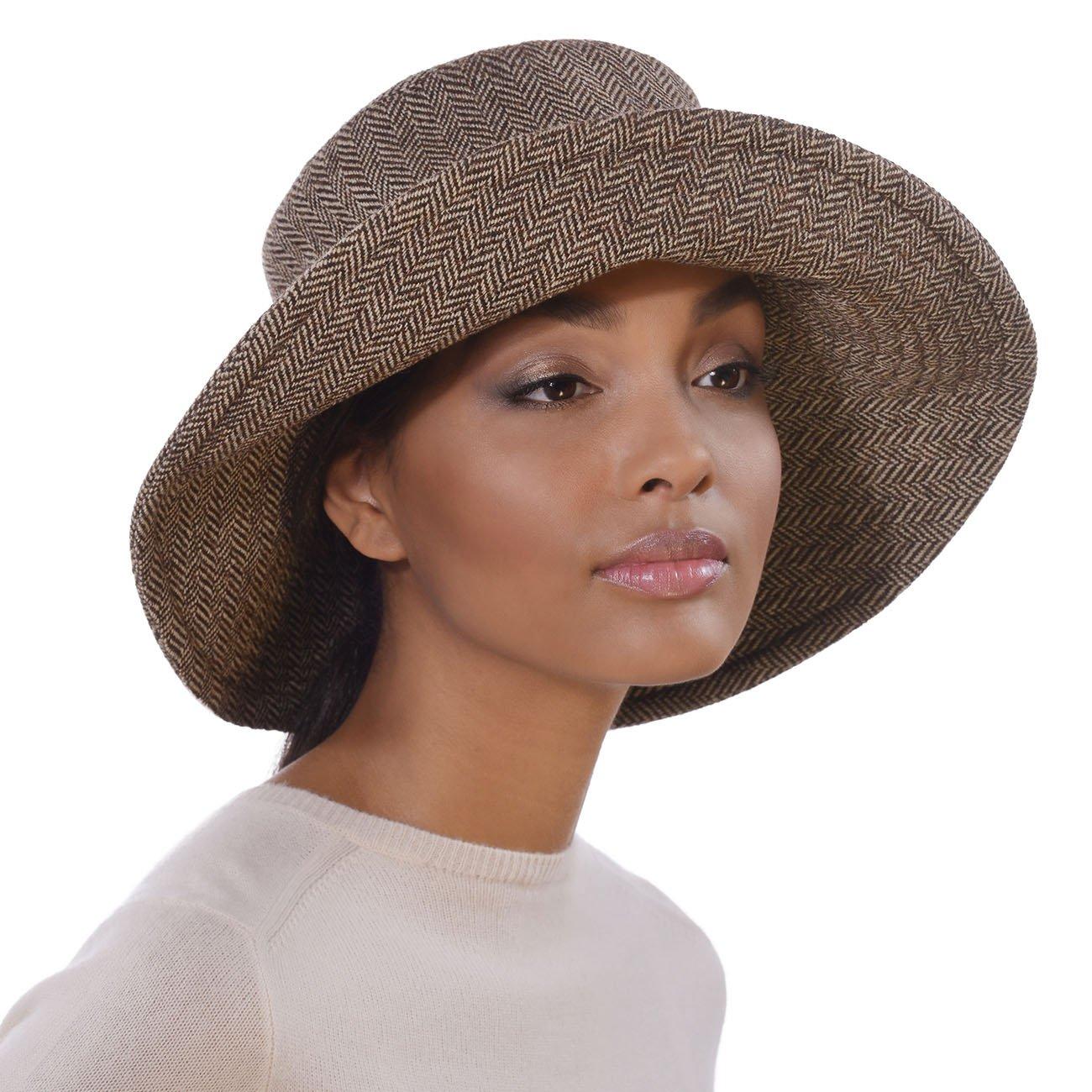 Eric Javits Designer Women's Luxury Headwear - Tweed Floppy Brown Mix