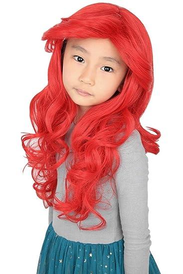 Topcosplay Ariel Wig for Kids Girls Child Long Red Wavy Princess Halloween Costume Wigs