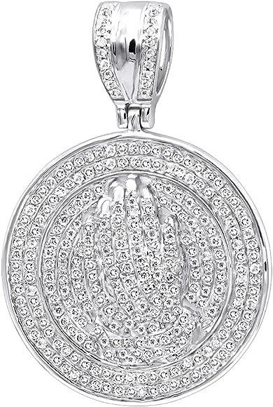 19a3a024031f6 Mens 14K Gold Hip Hop Jewelry: Praying Hands Diamond Pendant ...