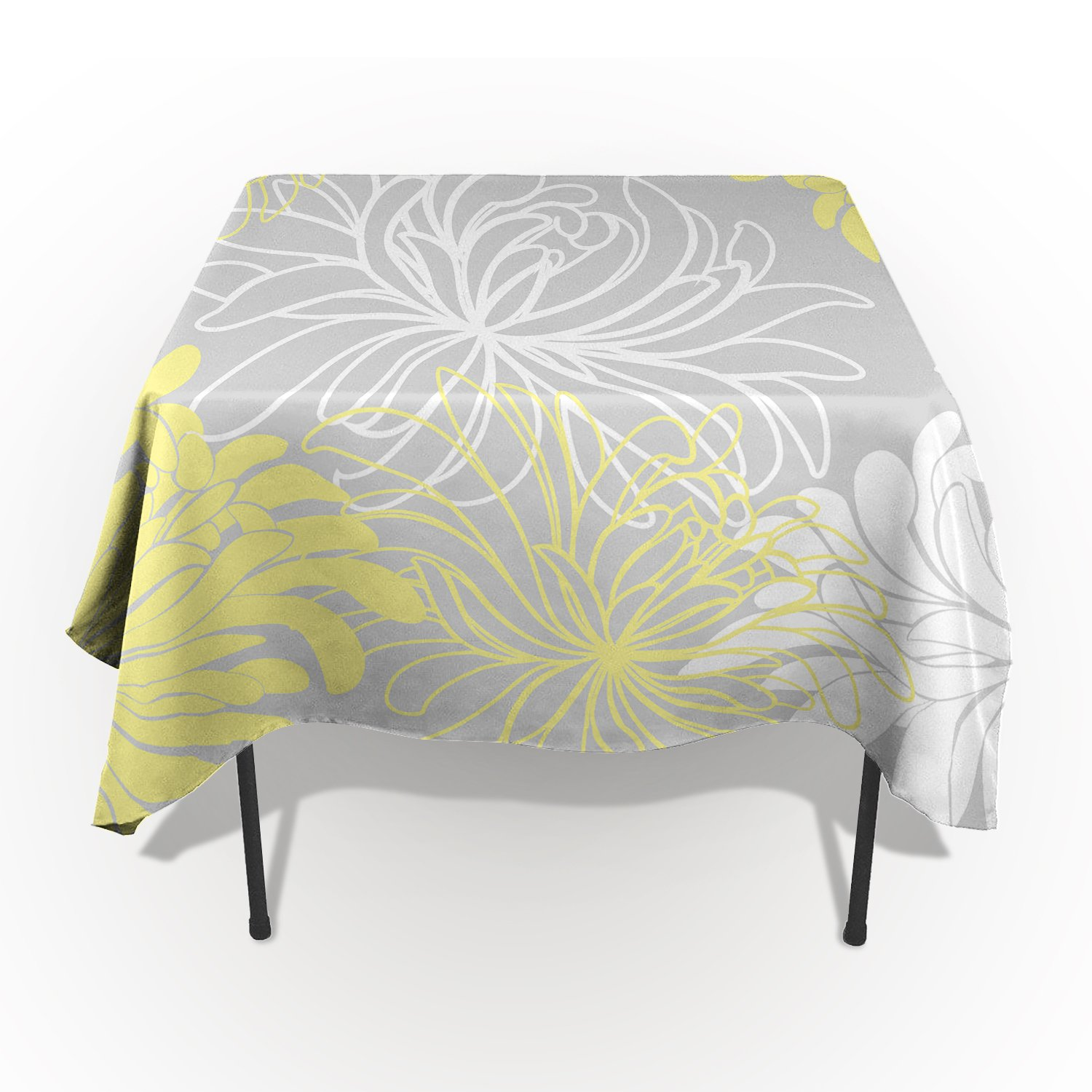 Home Decor Tablecloth Japanese Dahlia Floral Rectangular Table Cover for Dining Room Kitchen Outdoor Picnic 60x120 Inch White Gray Yellow