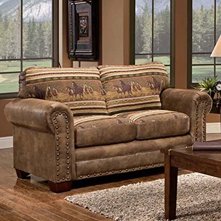 Stone Beam Kristin Round Arm Performance Fabric Loveseat Sofa Couch, 88 W, Stone