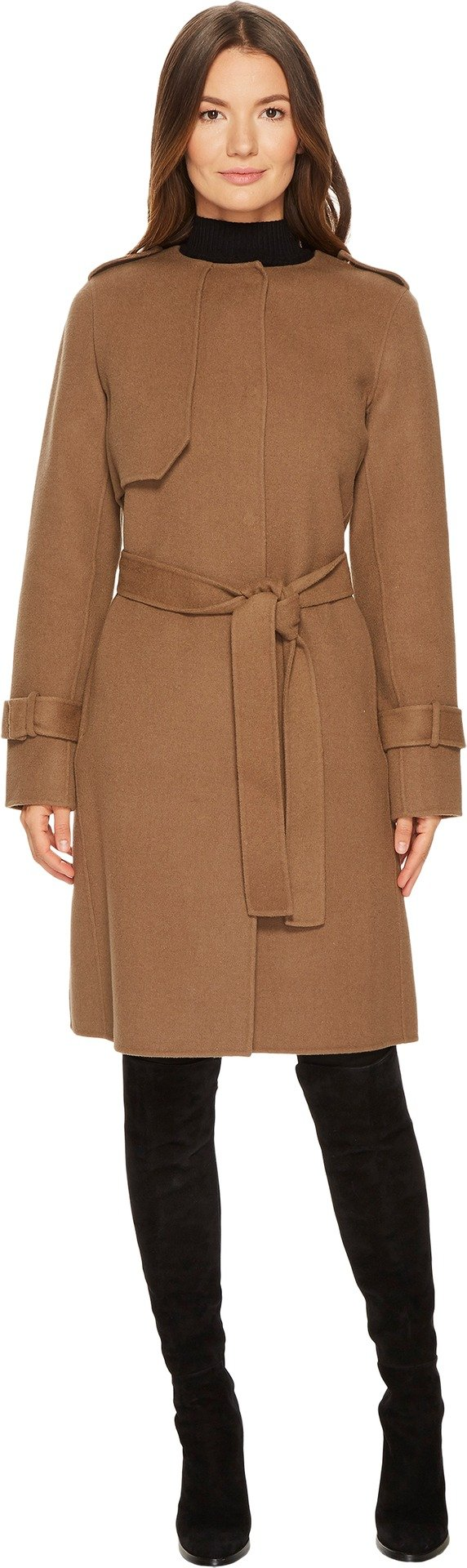 Diane von Furstenberg Women's Liane Double Face Wool Tie Waist Coat British Khaki Small