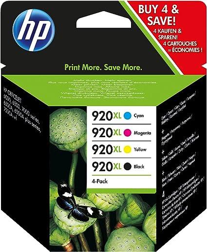 HP 920XL C2N92AE, Pack de 4, Cartuchos de Tinta Originales de alto ...