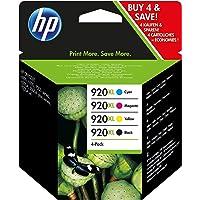 HP 920 XL Multipack Original Druckerpatronen (geeignet für HP Officejet), schwarz/blau/magenta/gelb
