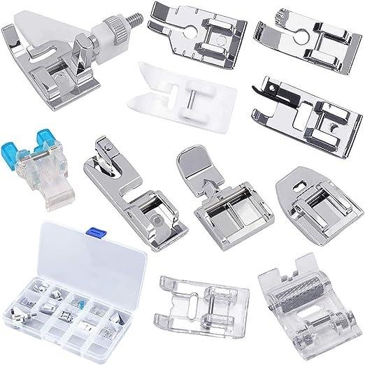 Kissral 11pcs Prensatelas Maquina Coser Kit Prensatelas de Acero Inoxidable Piezas y Accesorios para Máquinas de Coser para Amantes de la Costura: Amazon.es: Hogar