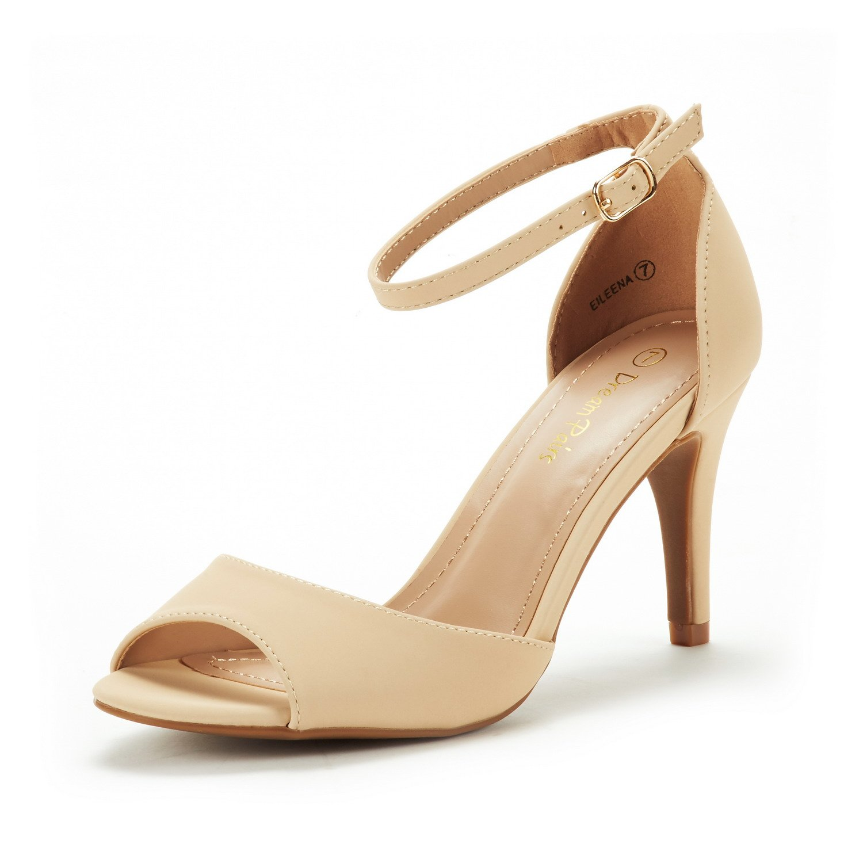 DREAM PAIRS Women's EILEENA Nude Nubuck Fashion Stilettos Peep Toe Pump Heeled Sandals Size 9 B(M) US