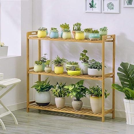 WLG Soporte de flores para interiores, sillones de bambú ...
