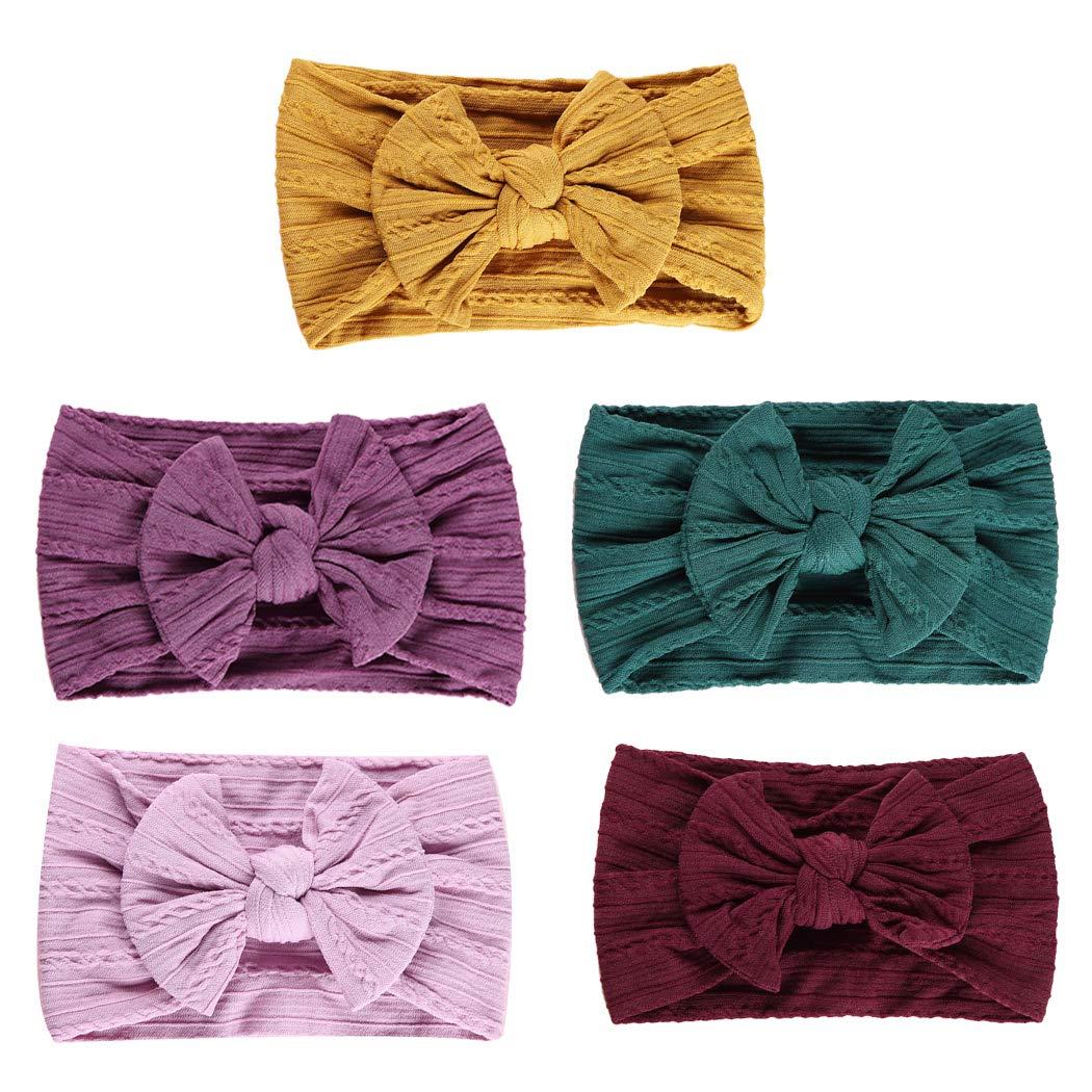 Kapmore 5PCS Baby Hair Band Elastic Super Soft Bowknot Head Wrap Headband for Baby by Kapmore