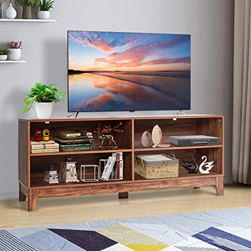 Tangkula Farmhouse Wood Universal TV Stand