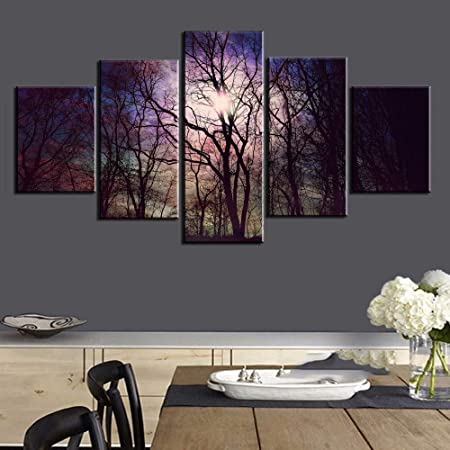 mmwin Modular 5 Panel Bright Morning Tree Forest Picture ...
