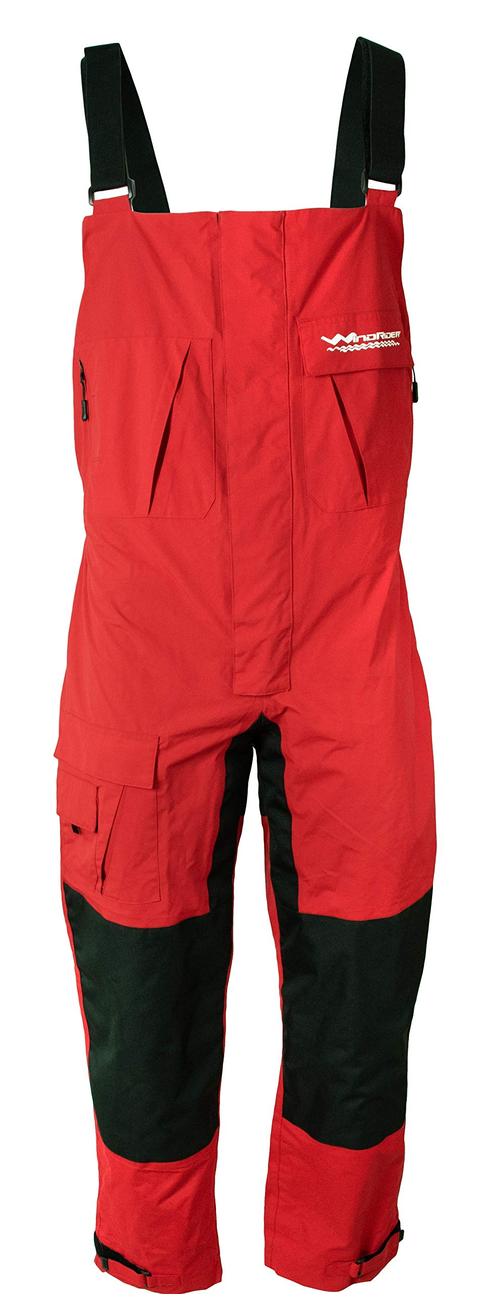 WindRider Pro Foul Weather Gear - Fishing Bibs/Sailing Bibs - 6 Pockets w/Hand Warming Chest Pockets - Waterproof, Windproof & Breathable - Reinforced Seat, Knees - High Chest (Medium, Red) by WindRider