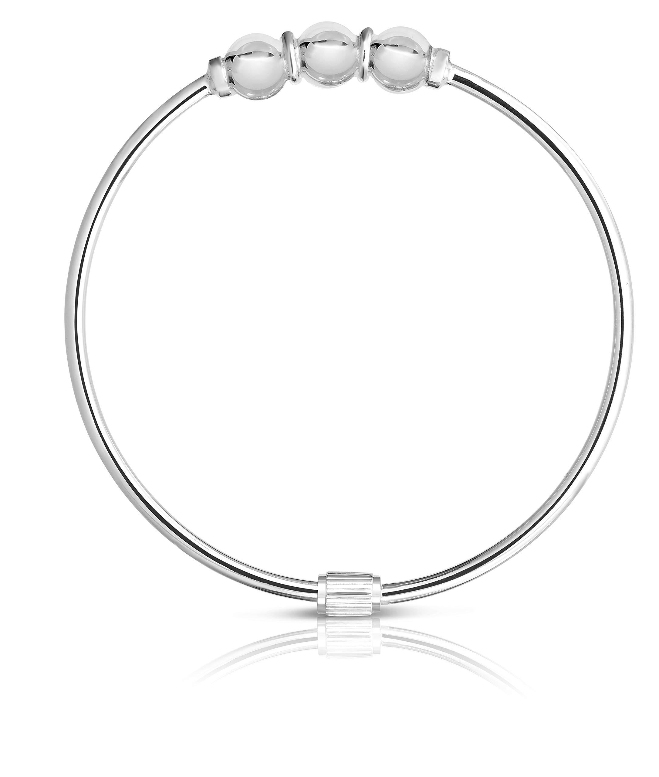 Unique Royal Jewelry Solid 925 Sterling Silver Triple Ball Designer Cape COD Beach Bracelet Bangle. (Sterling Silver Size-6.5) by Unique Royal Jewelry (Image #1)