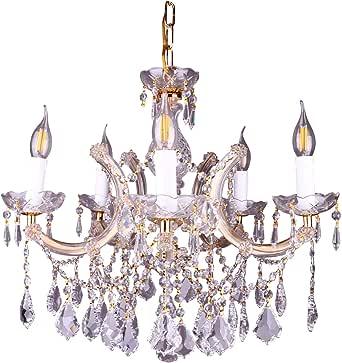 Modern Crystal Chandelier,Golden,5 Bulb,LED Lighting, By Al Hayek