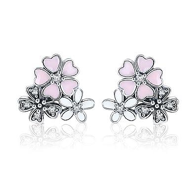 81995ebbe Bamoer 925 Sterling Silver Pink Heart Daisy Cherry Blossoms Flower Stud  Earrings for Women Girls