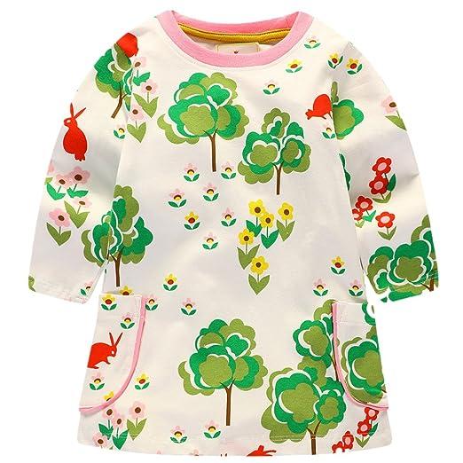 b3b213836f777 Little Maven Baby Girl Autumn Long Sleeve Print Forest One-piece Dress 18M