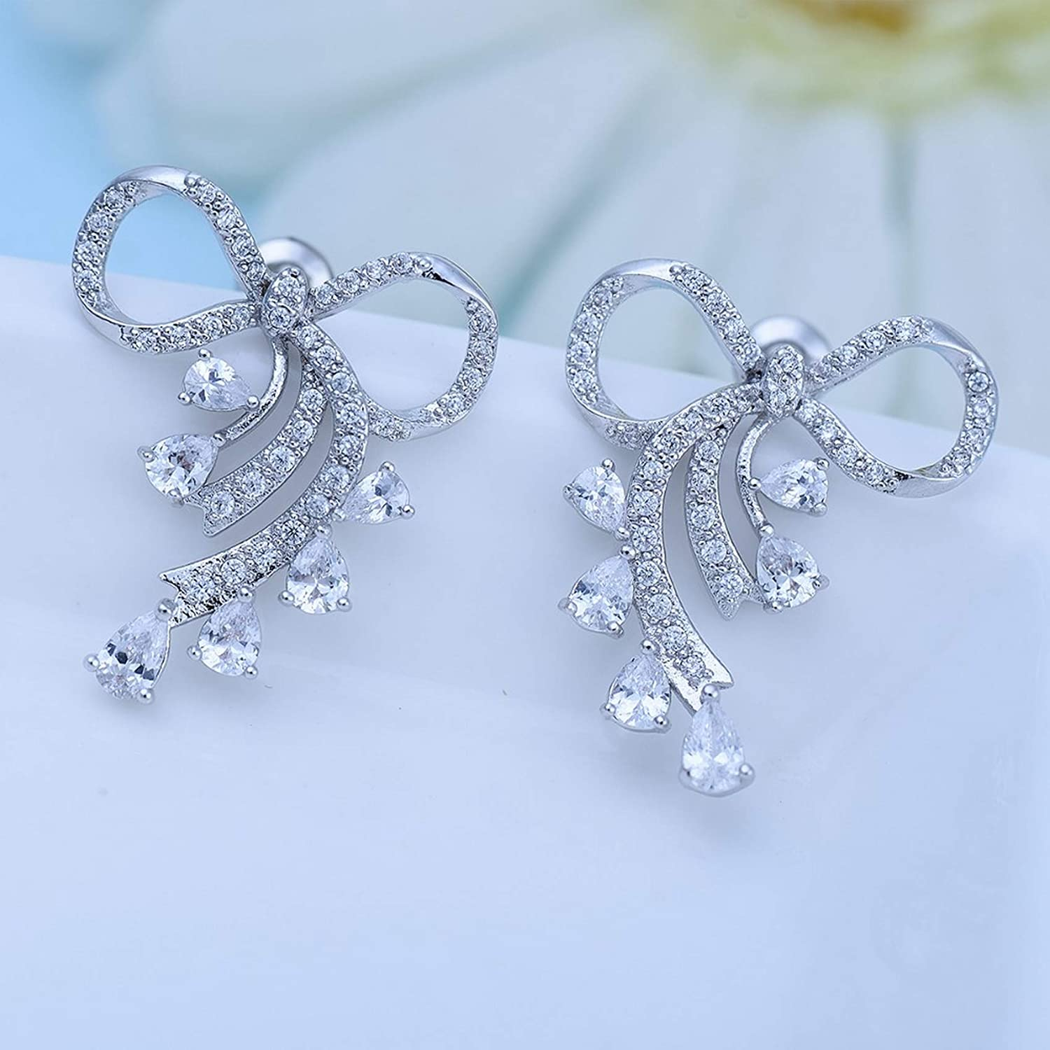 Silver Earrings By CS-DB Clear Round AAA Clear Cubic Zirconia Ribbon Bowknot Stud Earrings For Womens
