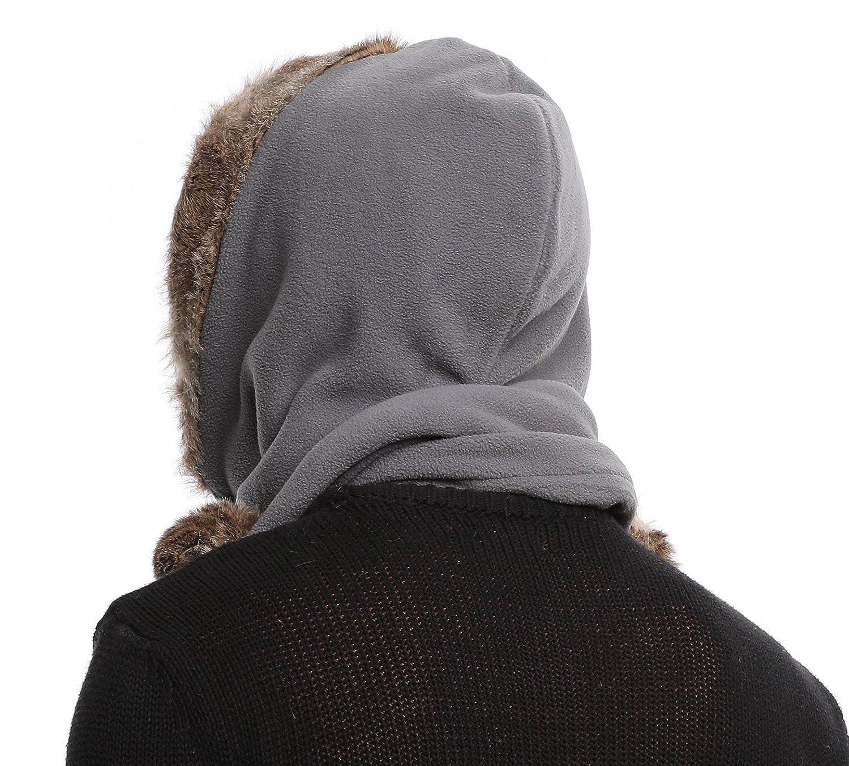 Bellady Men Women Fleece Hooded Scarf Hat Double Layers Warm Hoodie Hat