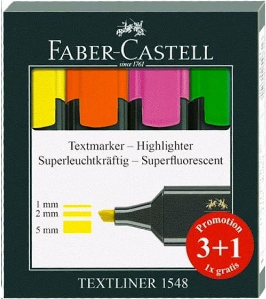 Rotuladores Fluorescentes Faber Castell, Caja x 3 + 1 Gratis ...