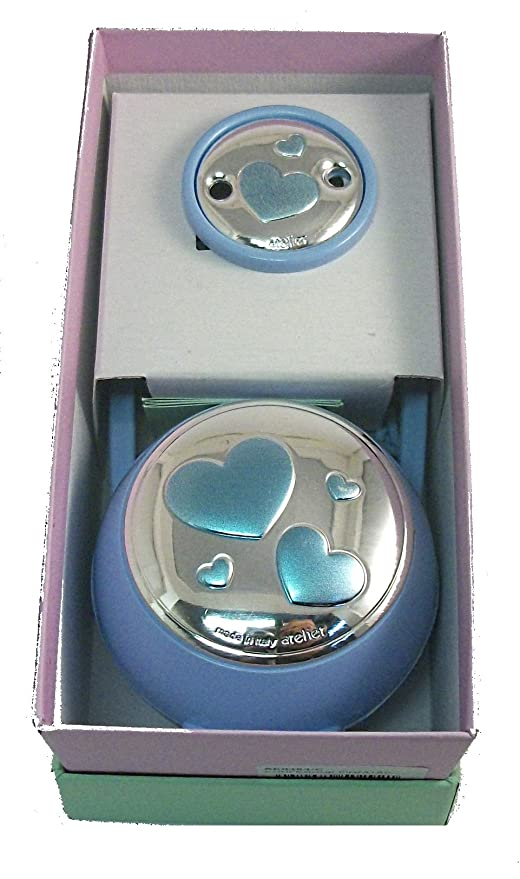 Juego caja para chupete y broche Bimbo Cod.ae0464 C con placa de plata