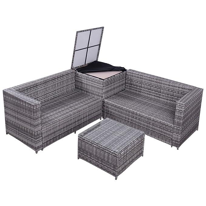 Juego de 4 muebles de ratán para patio, mesa de café, caja ...