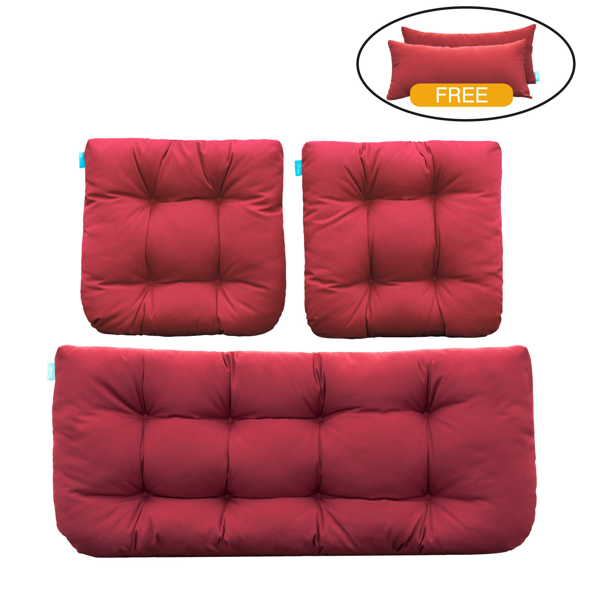 QILLOWAY Outdoor Patio Wicker Seat Cushions Group Loveseat/Two U-Shape/Two Lumbar Pillows For Patio Furniture,Wicker Loveseat,Bench,Porch,Settee of 5(Red)