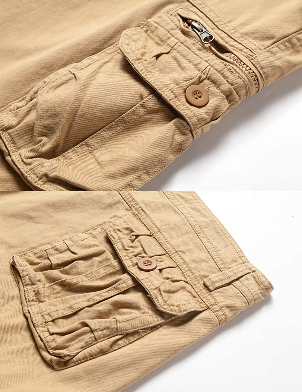 Mens Lightweight Multi Pocket Casual Cargo Shorts with No Belt