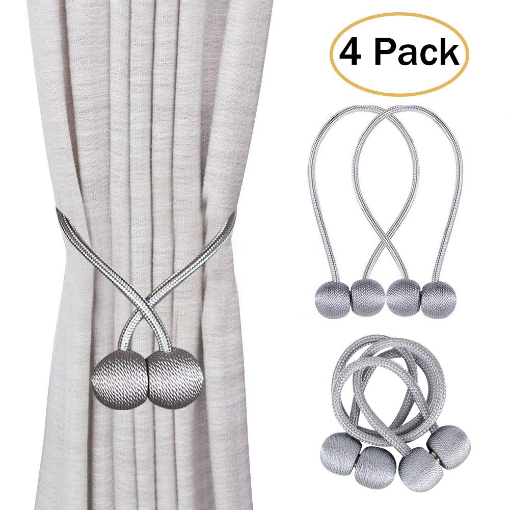Aottom Magnetic Curtain Tiebacks 2 Pair Magnetic Shower Curtain Tiebacks Clips Classic Window Weave Holdbacks Curtain Buckles Drape Holder for Home Office Hotel Window Decoration - Silver