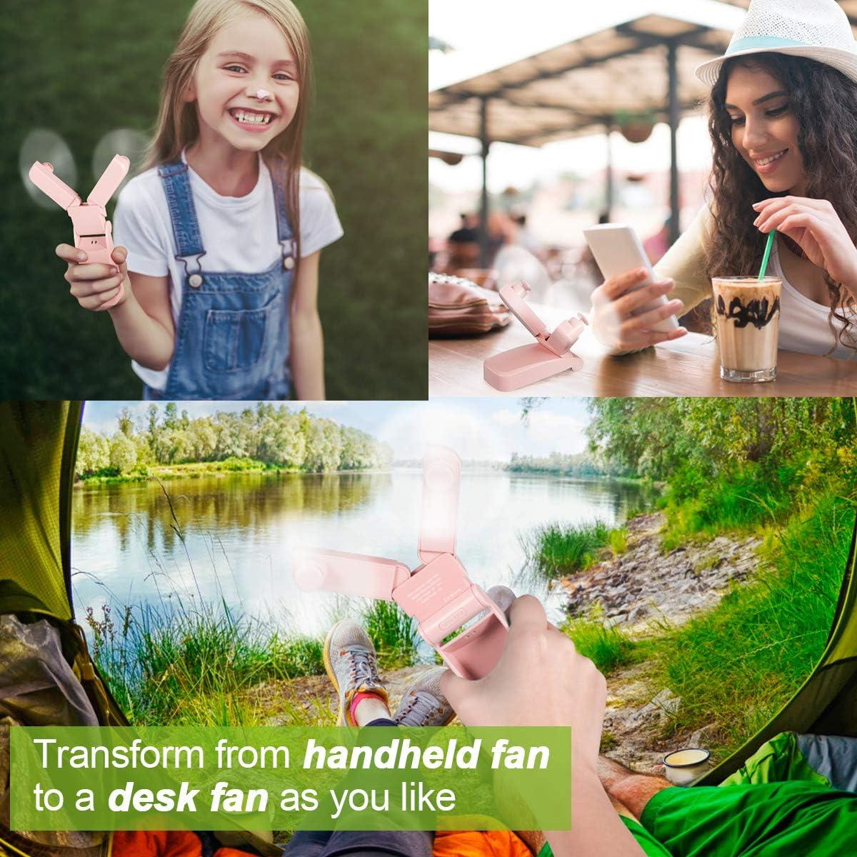 Handheld Fan Rechargeable Mini Fan Battery Operated Pocket Fan Dual Head Fan for Travel Office Camping Hiking 2 Speeds Strong Wind Pink Bayline Mini Portable Fan
