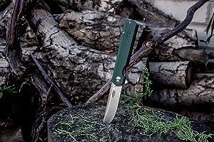 Pocket Folding Knife Firebird GANZO FH11 G10 handle D2 Steel Hunting Pocket Tools (Green) (Color: Green)
