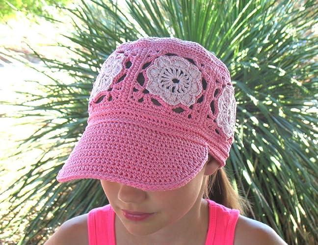 4ffc80d4ba0 Amazon.com  Crochet Visor Ponytail Cap Crocheted Women Hat Girls Ladies  Lace Beanie Child Teen Adult Made in USA Free Shipping  Handmade