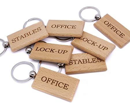 3f58e14b8d Personalised Wooden Keyring For Office, Stables, Lock-up, Laser Engraved For  Any Use: Amazon.co.uk: Kitchen & Home