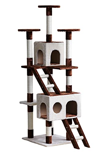 Merax Cat Tree Cat Tower with Condo/House Carb-certified Furniture