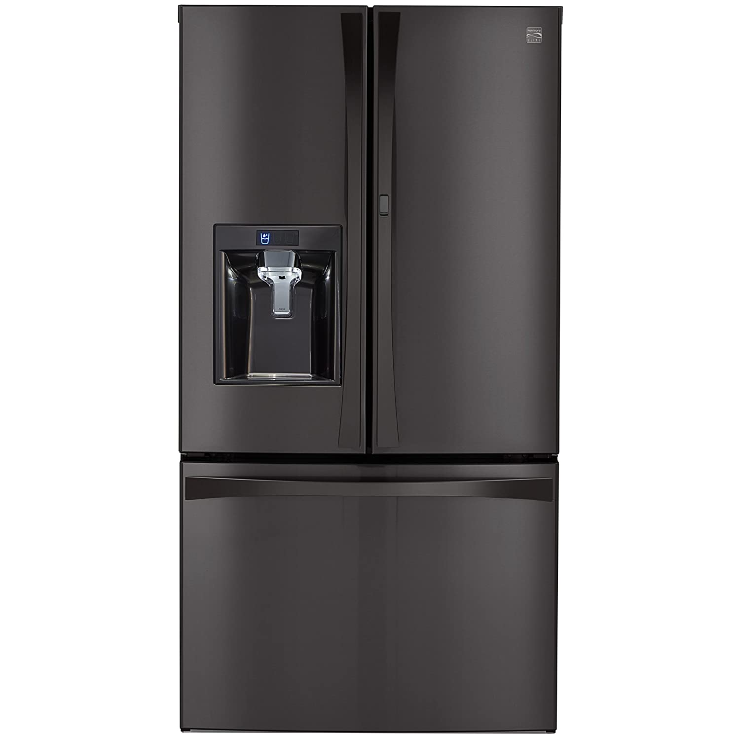 Kenmore Elite 04673167 28.5 cu. ft. French Door Bottom Freezer Refrigerator with Grab-N-Go Door in Black Stainless Steel, includes delivery and hookup (Available in select cities only)