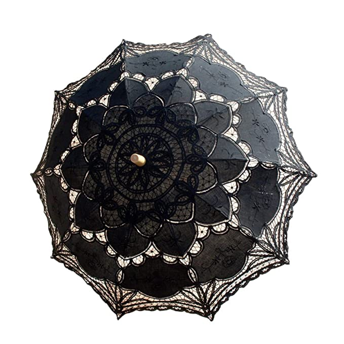 09c99bc2cb83 Amazon.com: Vintage Bridal Wedding Party Decoration Lace Parasol Umbrella  Beach Black: Clothing