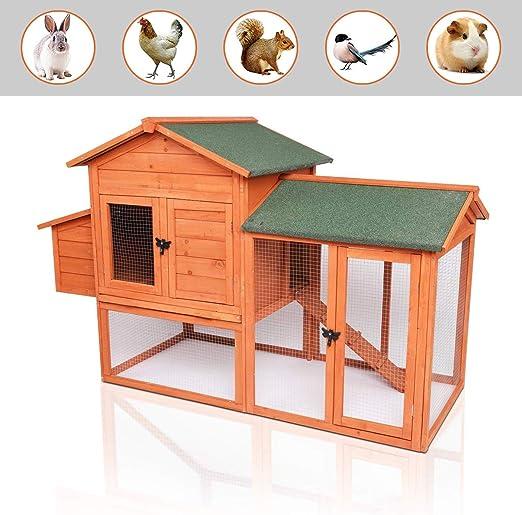 POTBY Gallinero de Madera Techo Impermeable, Escalera y Caja de Huevos para Conejos, Conejos, Pollo y Otros Animales pequeños: Amazon.es: Jardín