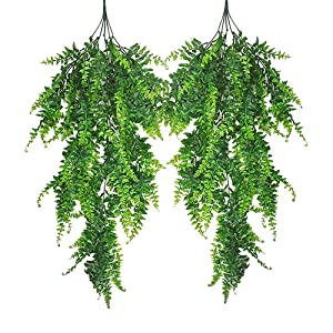 Hukidoy Artificial Plants Boston Fern Fake Greenery Hanging Ivy Decor Plastic Greenery for Wall Indoor Outdoor Hanging Baskets Wedding Garland Decor (Pack of 2)