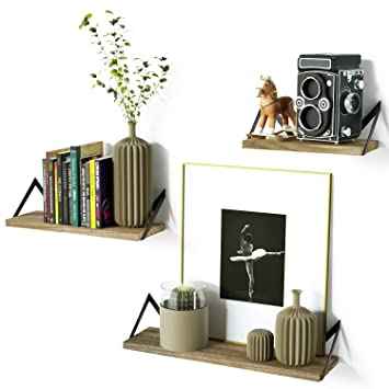 Estantes flotantes decorativos de pared estilo retro, con almacenamiento de hierro y madera, estante para libros, juego de 3: Amazon.es: Hogar