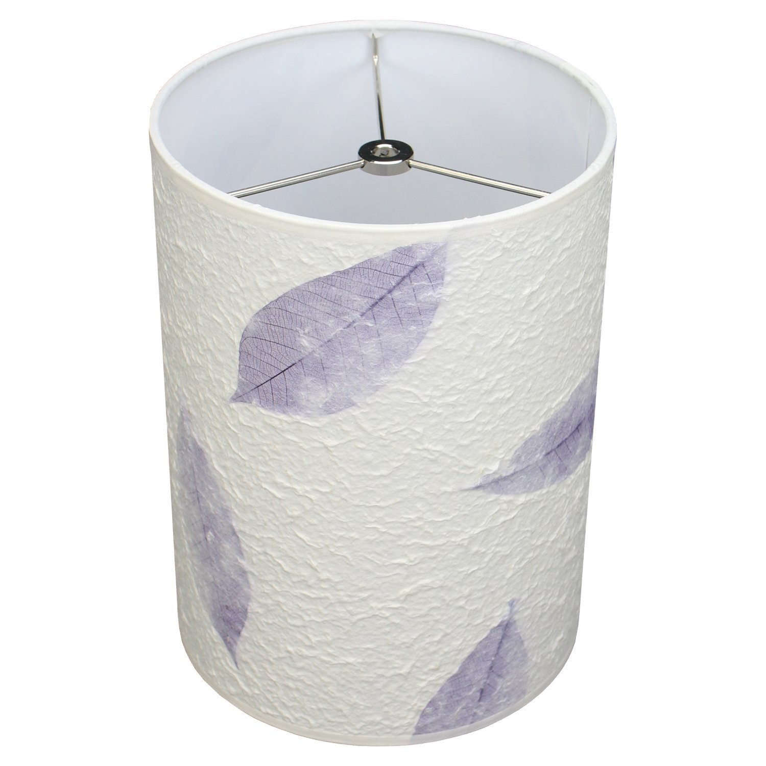 FenchelShades.com 8'' Top Diameter x 8'' Bottom Diameter 11'' Height Cylinder Drum Lampshade USA Made (Paper Fossil Leaf Purple)