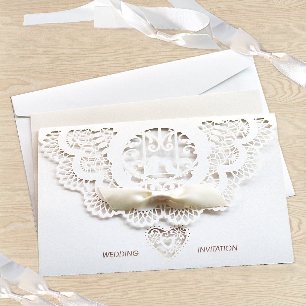 Printable Cardstock and Bow Silk Ribbon Benbilry 20 Pcs Wedding Invitations Cards Laser Cut Party Invitations Cards with Hollow Flora Favors