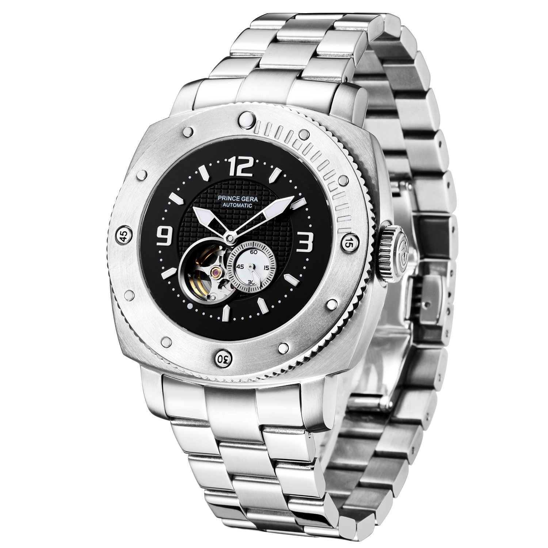 Prince Geraメンズ腕時計防水Big Face光Watches シルバー B07C7YGCTL シルバー シルバー